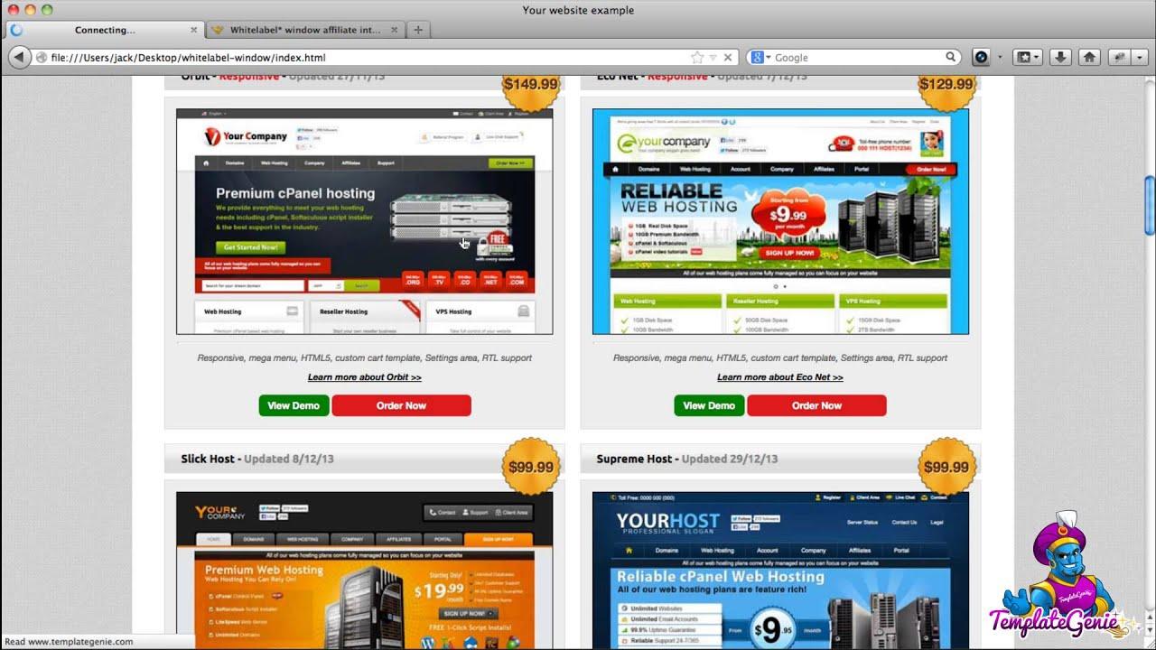Web hosting template affiliate program - iframe whitelabel ...