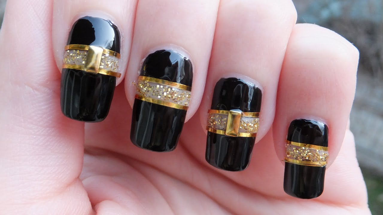 Black And Gold Cut Out Nail Art Design Tutorial Youtube