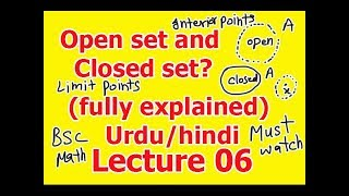 Open set and closed set in metric space with an example fully explained in hindi/Urdu