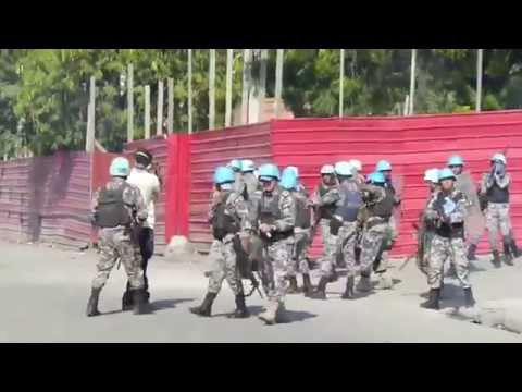 United Nations Peacekeeper Soldiers Fire at Protestors in Haiti