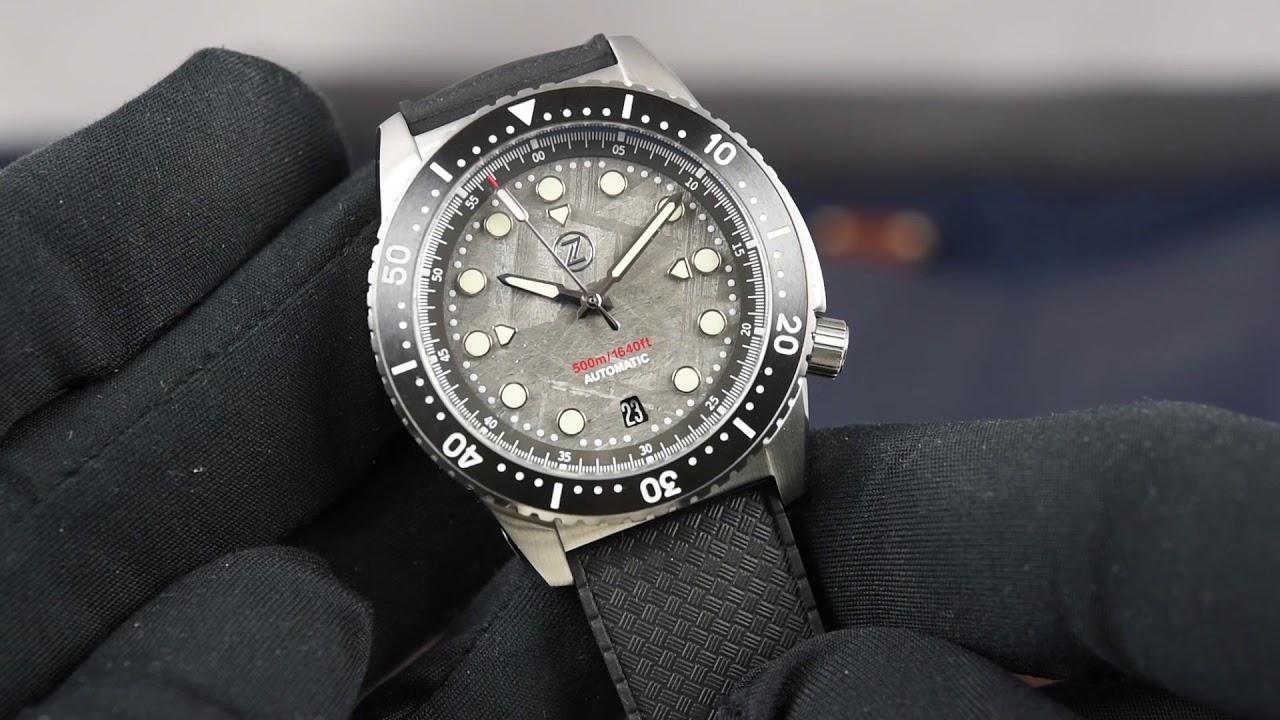 Image result for Zelos Mako 500m Diver Steel Meteorite Watch