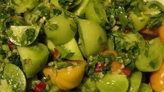 Зелёные помидоры по-корейски,за двое суток. Очень вкусные 👍