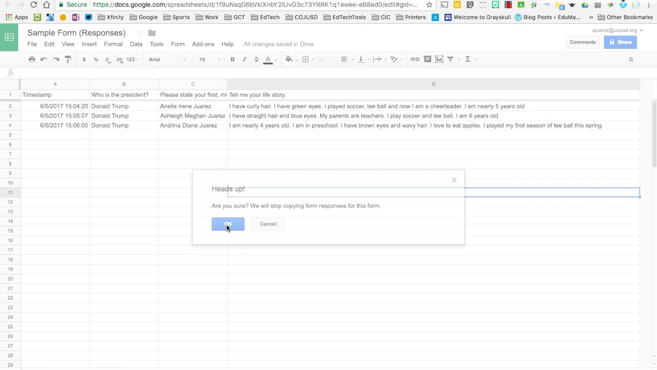 Unlink a Spreadsheet from Your Form - YouTube
