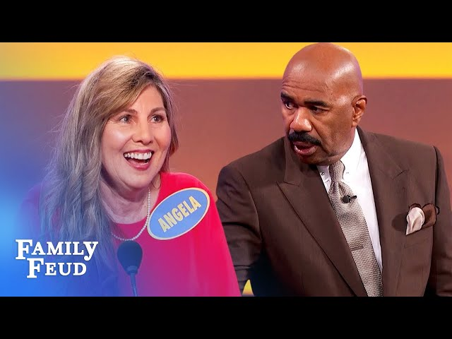Sexy food? Angela adds SOUND EFFECTS! | Family Feud