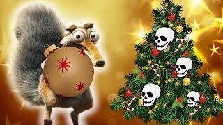 İçin korkunç iskelet Noel ağacı karikatür w/ komik Buz Devri sincap ve Kölelerinin mini film çocuklar
