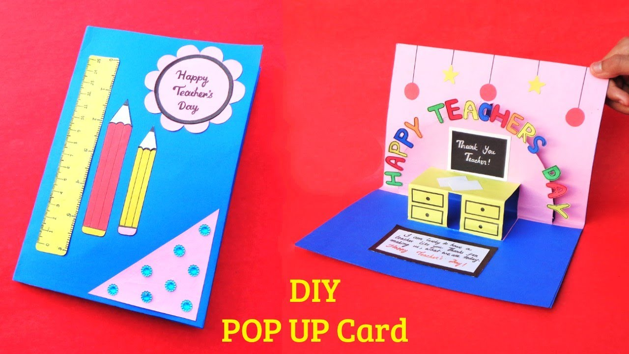 diy teacher's day card  how to make teachers day pop up