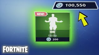 Spending 200 V-Bucks From My 100k Fortnite VBucks Account! Buying NEW Emote (& GamePlay)