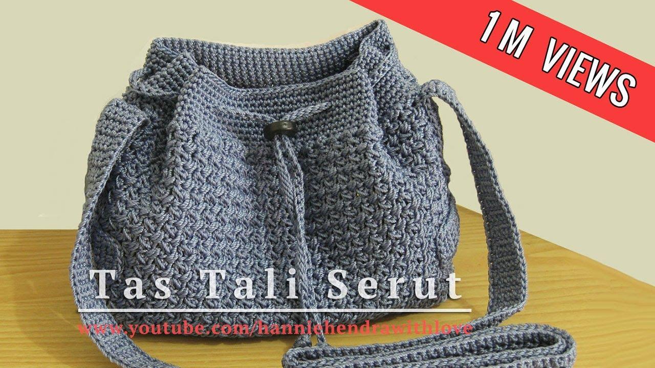 Crochet || Tutorial Tas Tali Serut (Drawstring Bag) - Mini