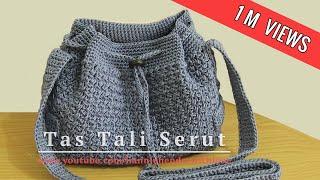 Crochet || Tutorial Tas Tali Serut (Drawstring Bag) - Mini Bean Stitch