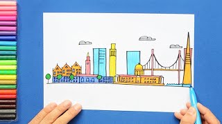How to draw and color San Francisco city skyline