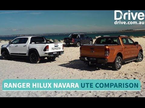 Toyota HiLux TRD v Ford Ranger Wildtrak v Nissan Navara Comparison | Drive.com.au
