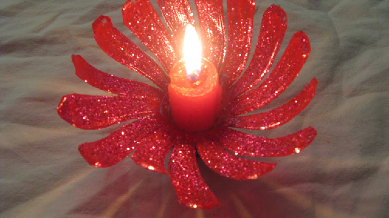 Create a pretty plastic bottle candle holder home for How to make candle sticks
