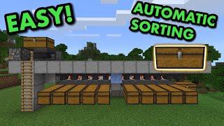SIMPLE 1.17 AUTOMATIC IṪEM SORTER TUTORIAL in Minecraft Bedrock (MCPE/Xbox/PS4/Switch/Windows10)