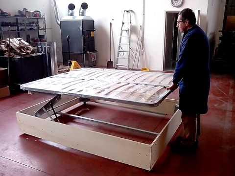 Base letto contenitore cassettone doppia alzata youtube for Letto a cassettone