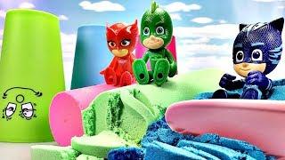 カラフルな運動砂のおもちゃでPJ Masks(パジャマスク)と遊ぶよ! 子供が英語の色を学ぶ幼児向け動画 Gizmone