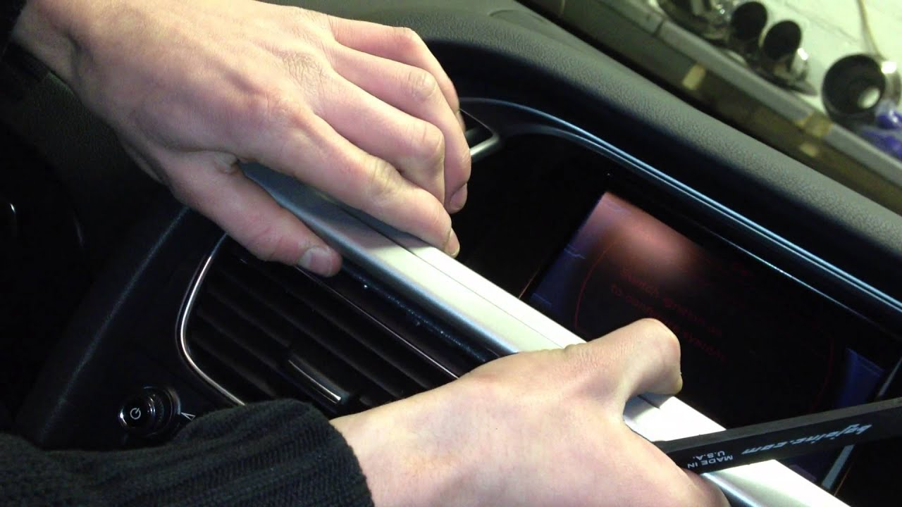 audi a4 s4 b8 stereo screen trim removal with bojo tool. Black Bedroom Furniture Sets. Home Design Ideas