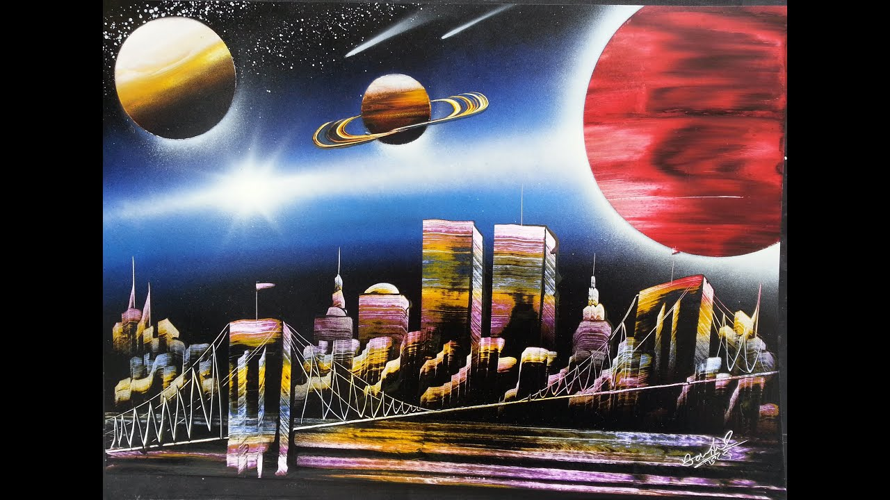 amazing spray paint art new york city with planets. Black Bedroom Furniture Sets. Home Design Ideas