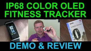 Best Inexpensive Color LCD Waterproof Fitness Tracker Smartwatch Heart Rate Steps Review Demo