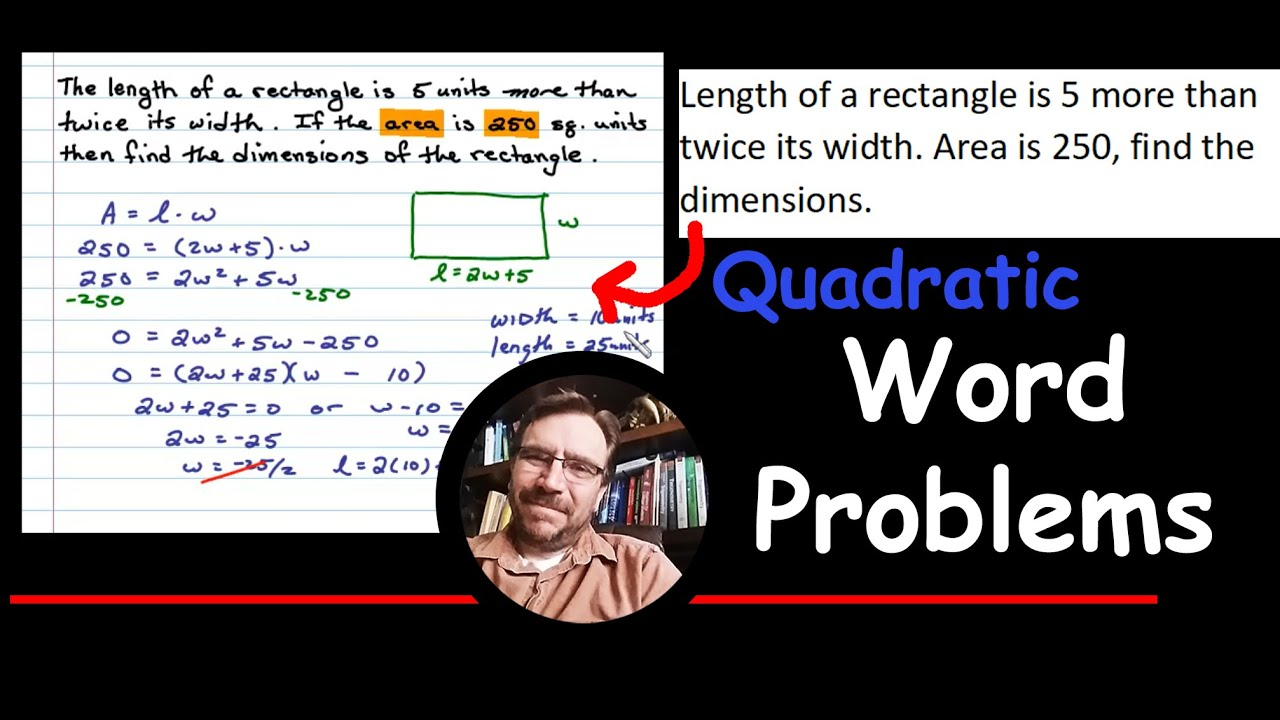 Find the Area of a Rectangle Word Problem - YouTube