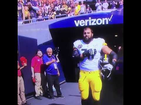1f7b7c326 OL Alejandro Villanueva standing alone for the national anthem - YouTube