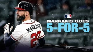 Braves' nick markakis collects five hits and drives in runs against the chicago cubs