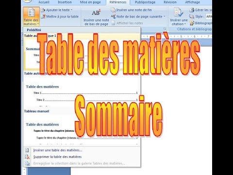Sommaire - Table des matières