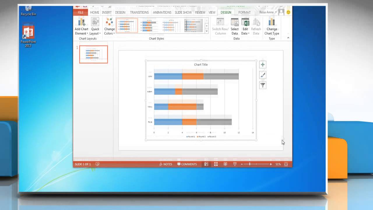 how to make a bar graph in powerpoint 2013 youtube. Black Bedroom Furniture Sets. Home Design Ideas