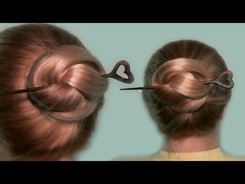 Простая Прическа Своими Руками Видео| Пучок с Палочками для Волос| Simple Hairstyle with Hair Sticks