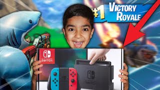 If my 5 year old little brother gets a victory royale in Fortnite I will buy him a NINTENDO SWITCH!