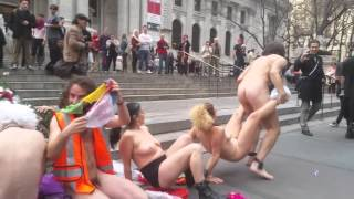 Nude protest by the New York Public library,