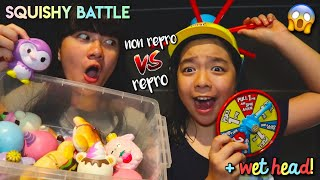 SQUISHY BATTLE! Non repro VS Repro | Wet Head!!
