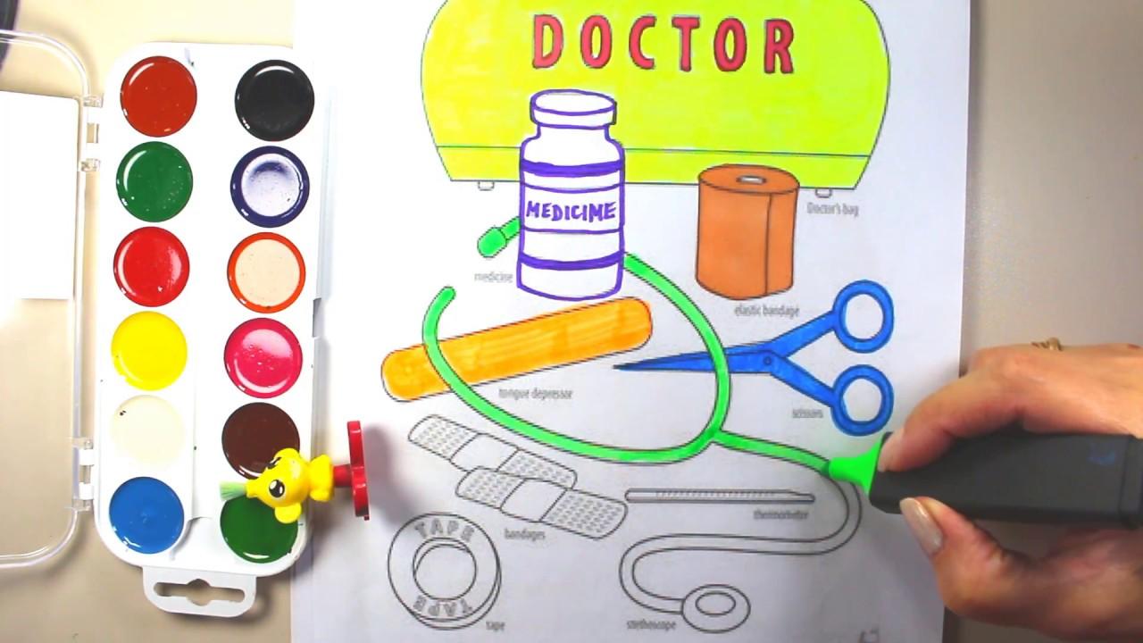 doctor tools coloring doctor tools coloring pages youtube