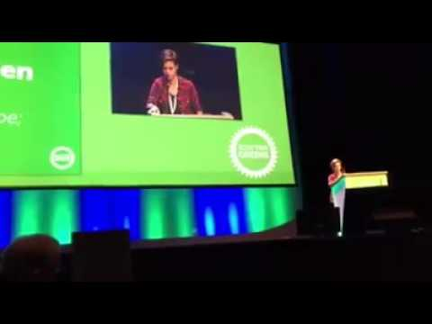 Jack Monroe speaking at the Scottish Green Party conference