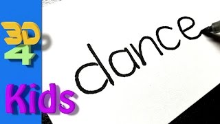 Turn words into cartoon drawing very Easy ! DANCE wordtoon #23
