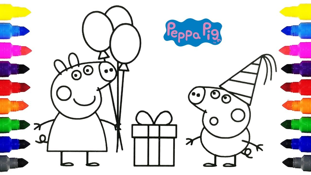 Peppa Pig Happy Birthday Coloring Pages for Kids YouTube