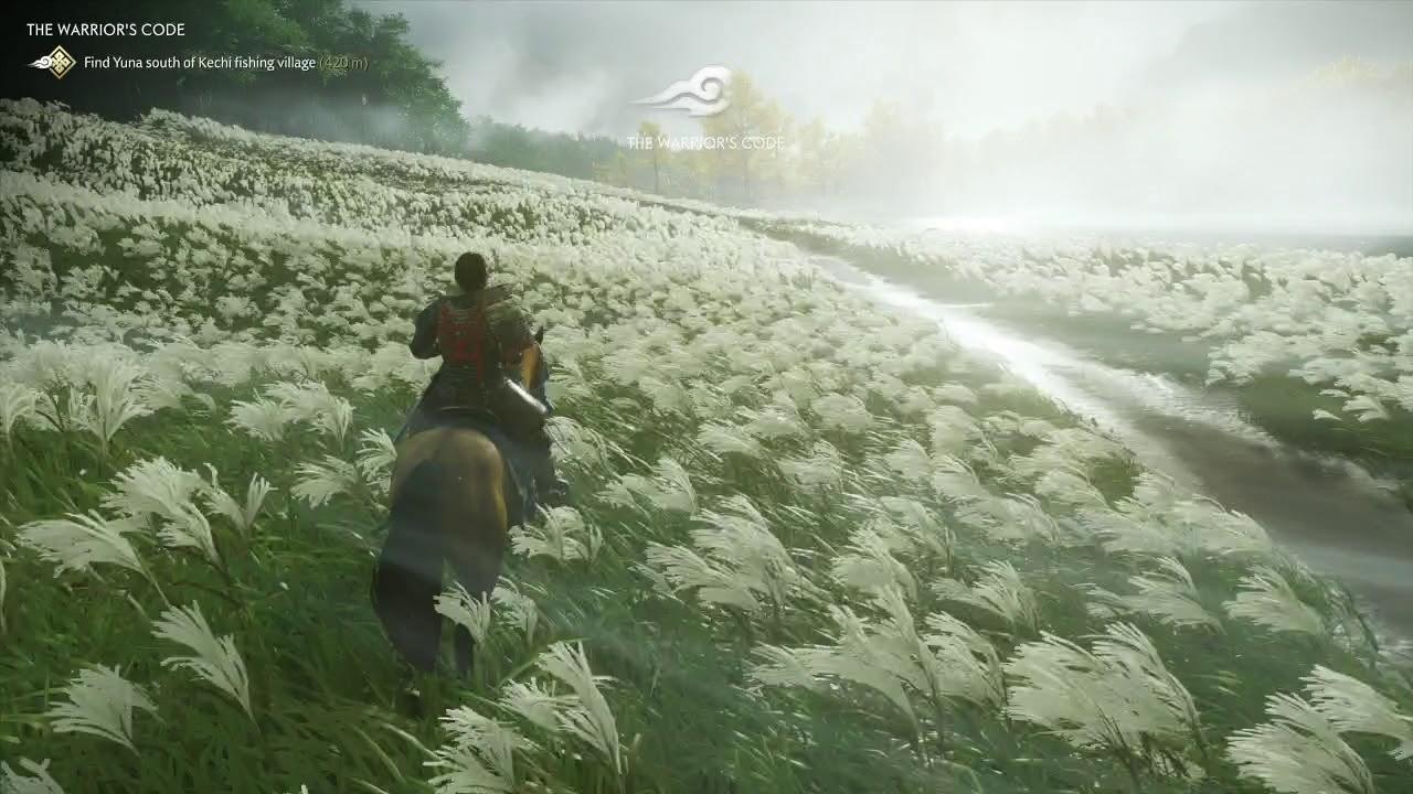 Ghost of Tsushima Open World Begins Explore Map fields near lake izuhara -  YouTube