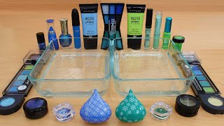 Blue vs Green - Mixing Makeup Eyeshadow Into Slime ASMR 256 Satisfying Slime Video