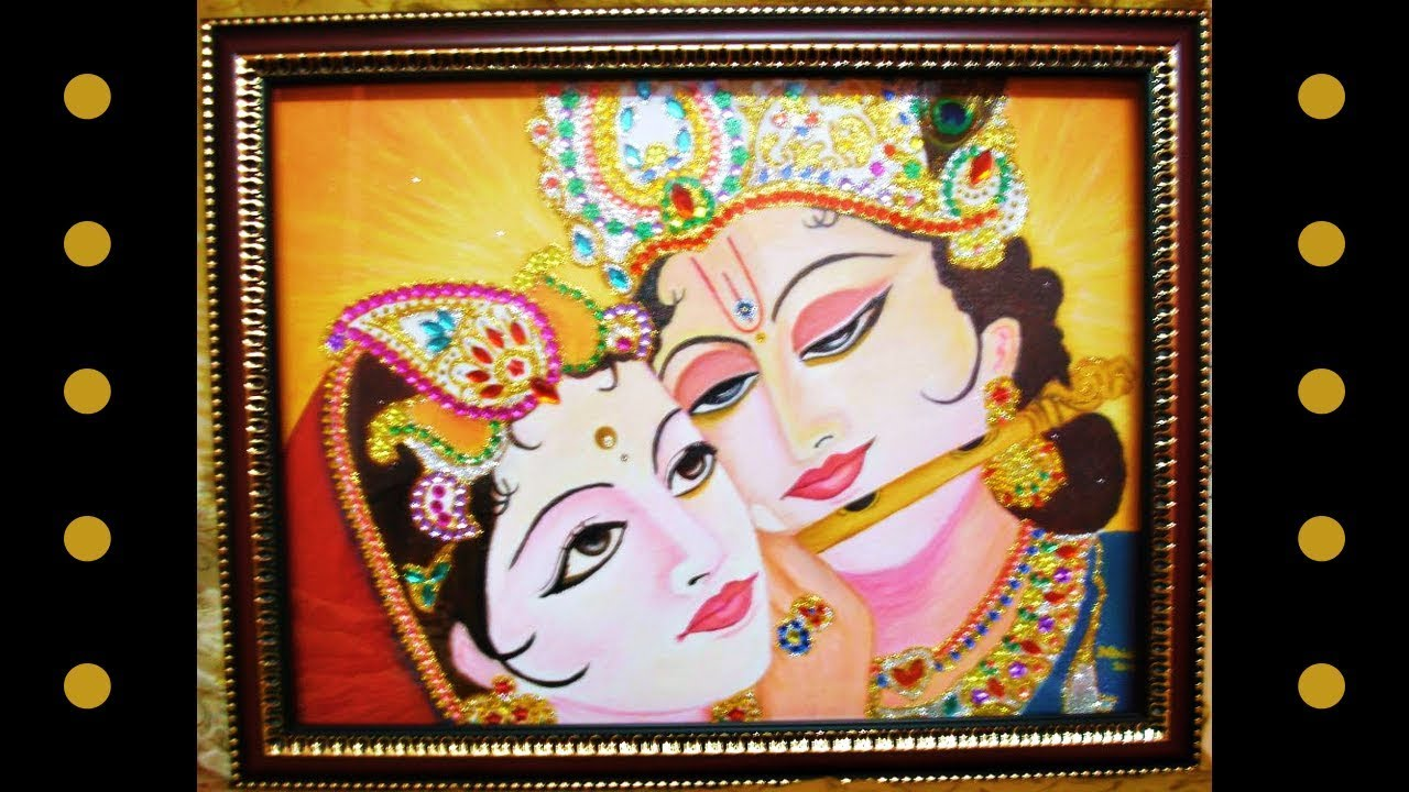 Canvas Painting Radha Krishna Handmade Wall Decor