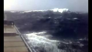 Container Ship Flexing in Rough Seas