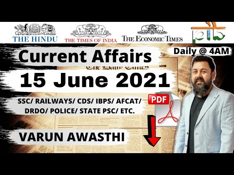 15 JUNE 2021 CURRENT AFFAIRS | Daily Current Affairs Jackpot |#CurrentAffairs2021