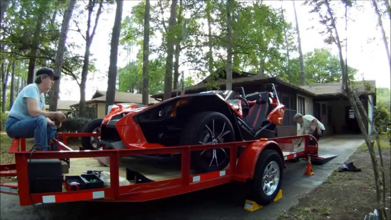 Load Max Trailers >> Wench Polaris Slingshot on Trailer - YouTube