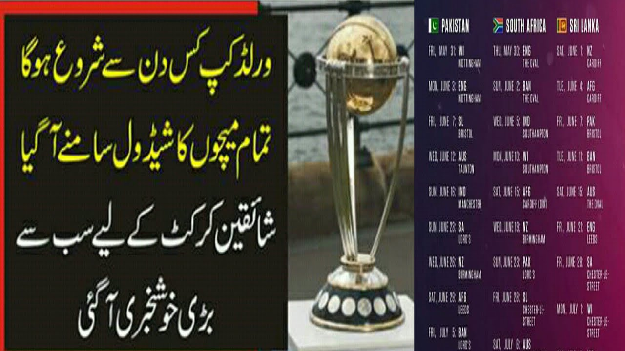 ICC Cricket world cup 2019 Schedule | Full schedule of world cup 2019