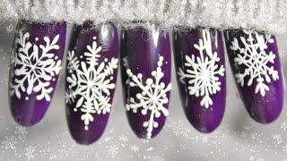 Очень ПОДРОБНЫЙ МК Как рисовать снежинки Зимний маникюр Схемы снежинок пошагово Ч 1