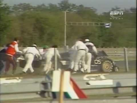 1987 - Le Mans - Mike Thackwell dumps it into the catchfencing