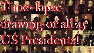 🎩🤵🇺🇸Time-lapse drawings of 45 United States Presidents by Alan Lubeski🇺🇸🤵🎩