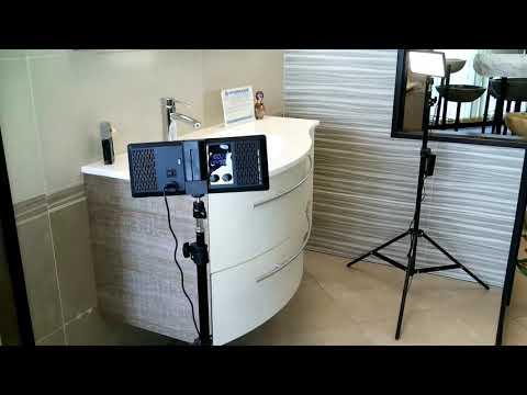 Mobile bagno sospeso design bicolor effetto legno 106 cm. ITALIANO - TOP QUALITY