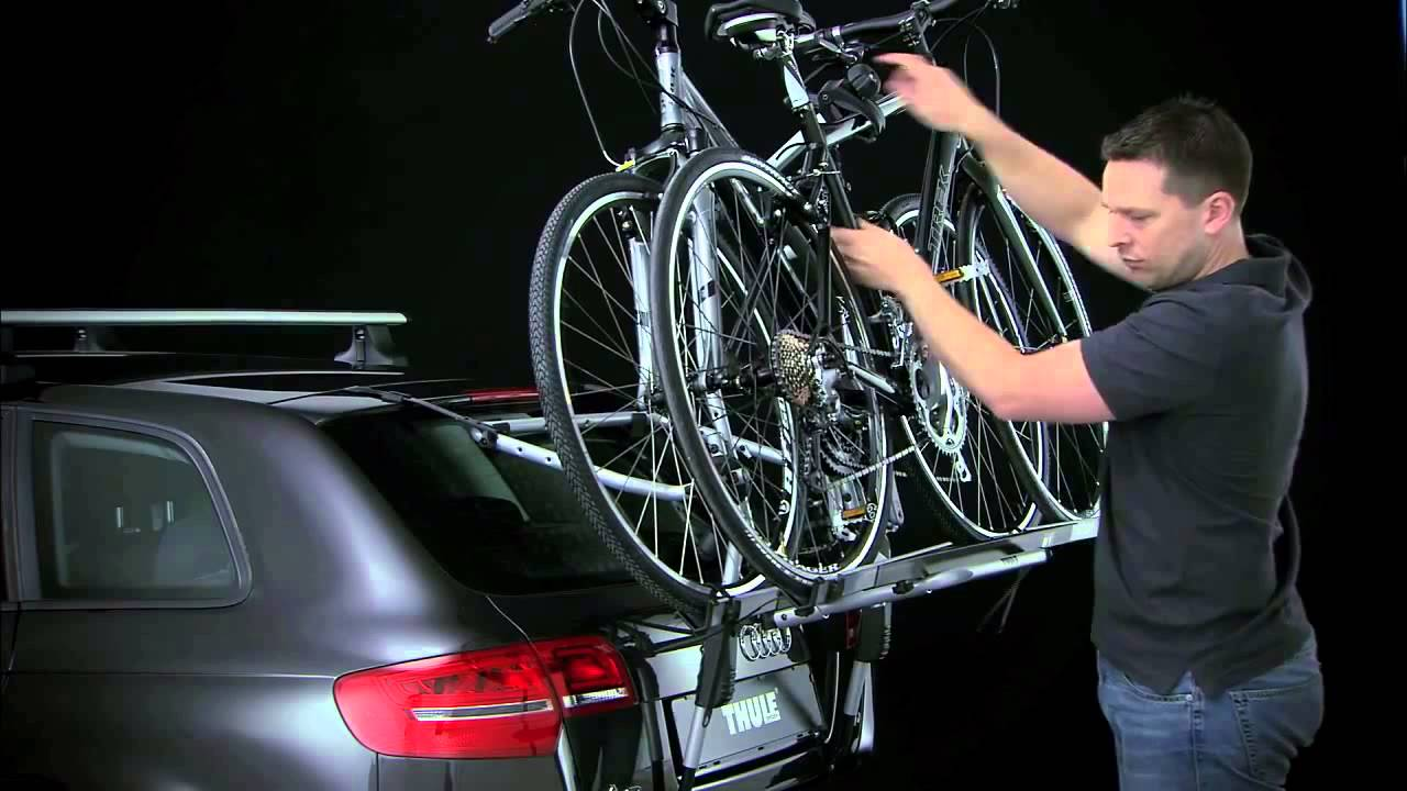 thule high clip on rear mounted cycle carrier youtube. Black Bedroom Furniture Sets. Home Design Ideas