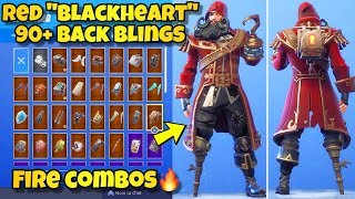 "NEW RED ""BLACKHEART"" SKIN Showcased With 90+ BACK BLINGS! Fortnite Battle Royale (BLACKHEART RED)"