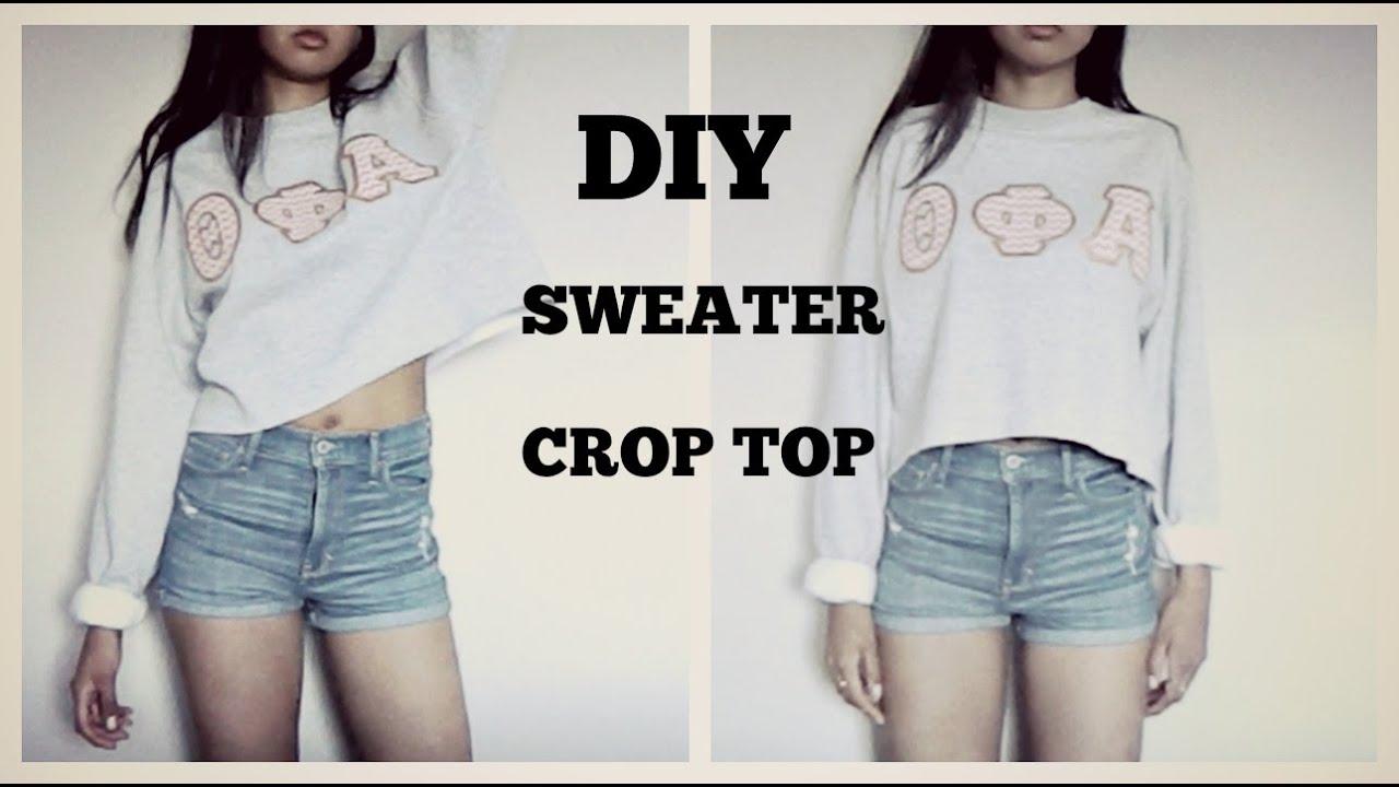 DIY SWEATER CROP TOP (Tumblr Inspired) - YouTube