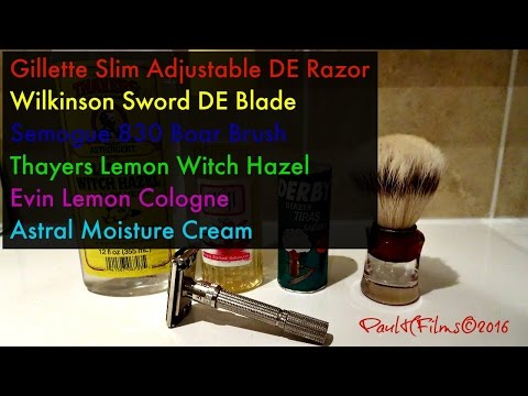 Gillette Slim Adjustable DE Razor - Derby Shaving Soap